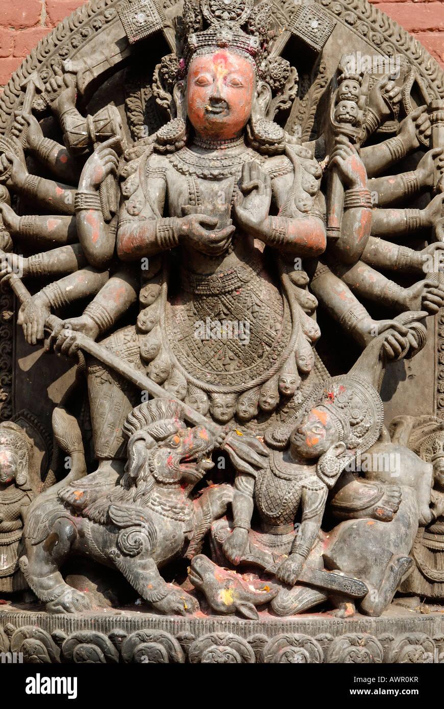 Hinduistische Statue, Durbar Square von Patan, Lalitpur, Kathmandu, Nepal Stockbild
