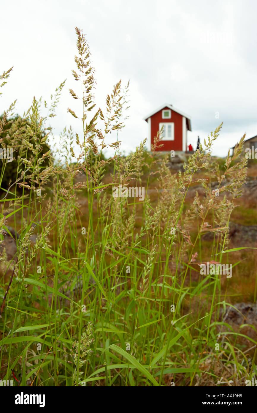 eine rote Hütte Stockfoto