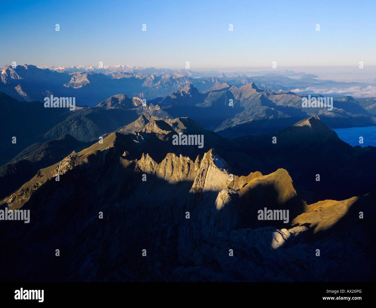 Schweizer Alpen Aussicht vom Säntis Gipfel Appenzell Schweiz Stockbild