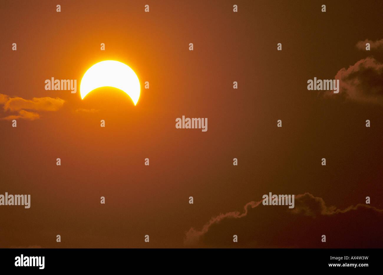 Sonnenfinsternis Rio Grande Valley, Texas USA Stockbild