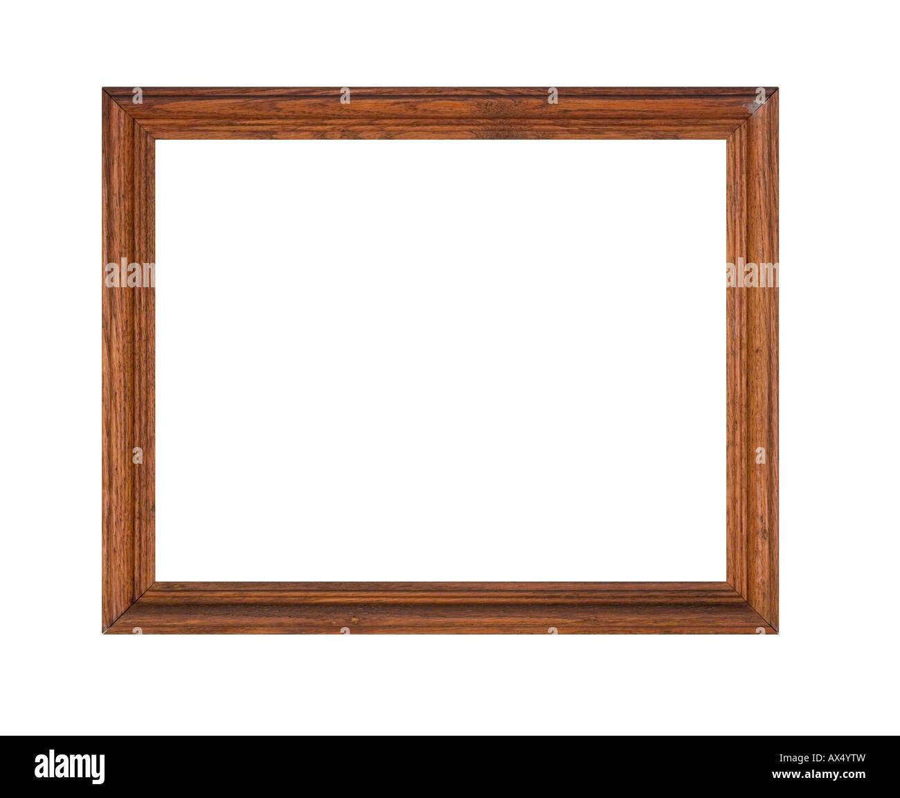 Bilderrahmen aus Eichenholz im groben notleidenden Zustand, ein Trödler finden isoliert auf weiss. Stockbild