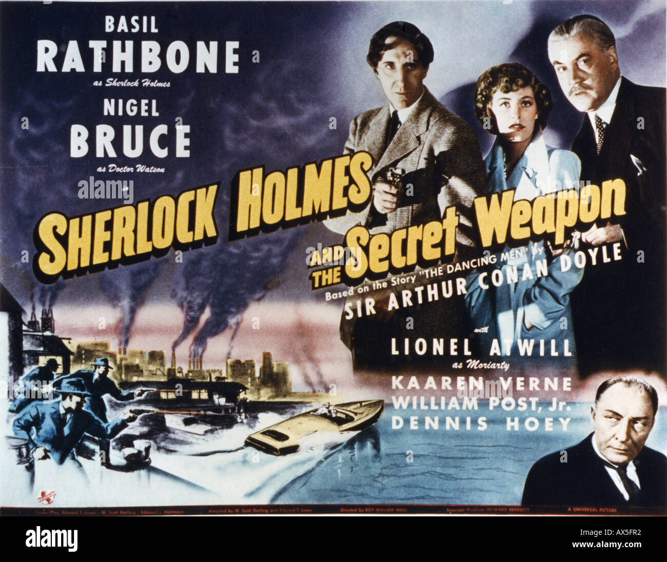 SHERLOCK HOLMES und THE SECRET WEAPON Plakat für Universal Film 1942 Stockbild