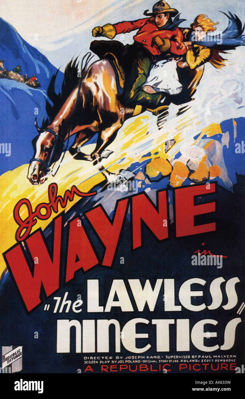 DIE gesetzlosen neunziger Jahre Poster für 1936 Republik film mit John Wayne Stockbild