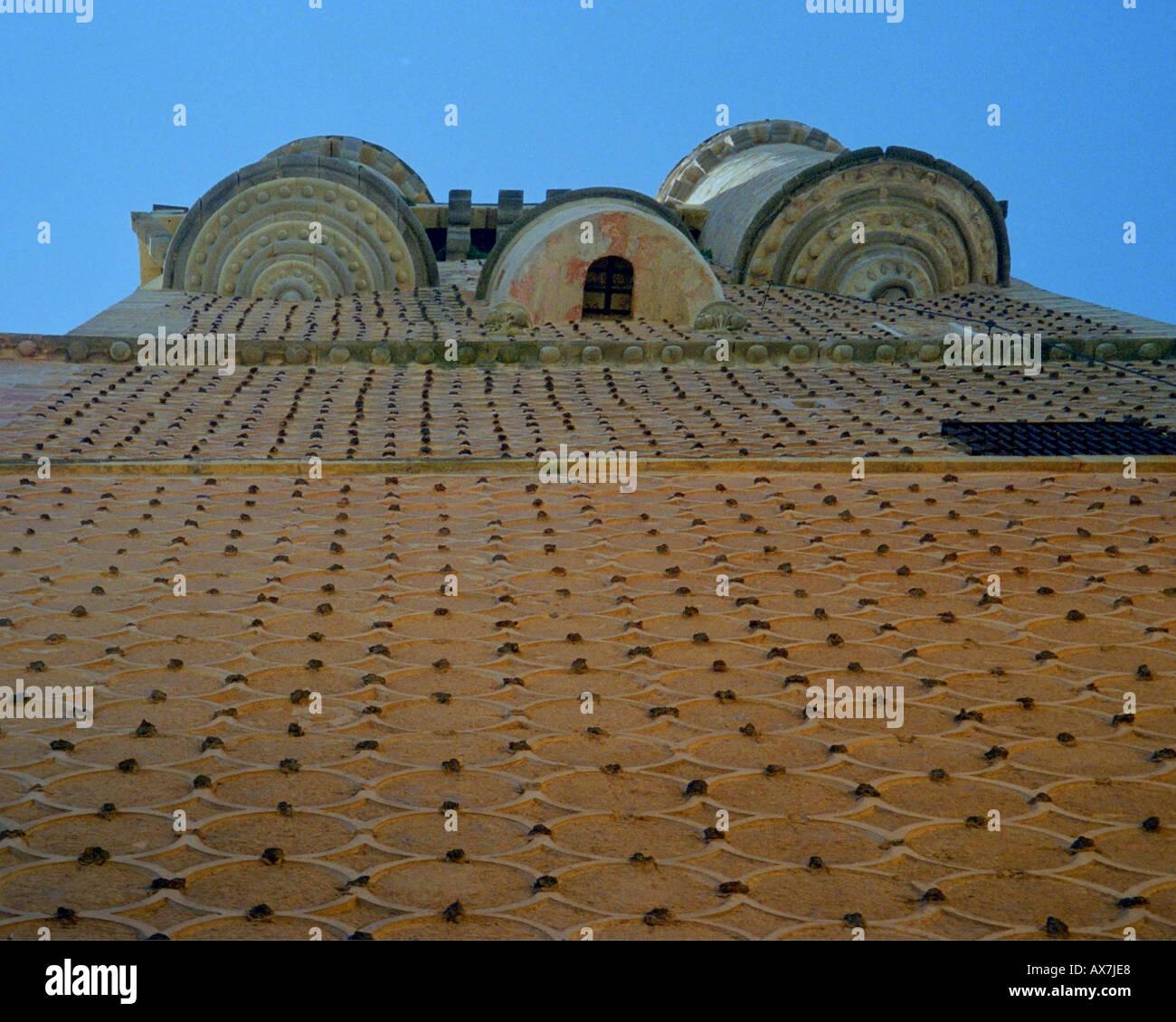 Außenwand des Alcazar Segovia in Spanien Stockfoto