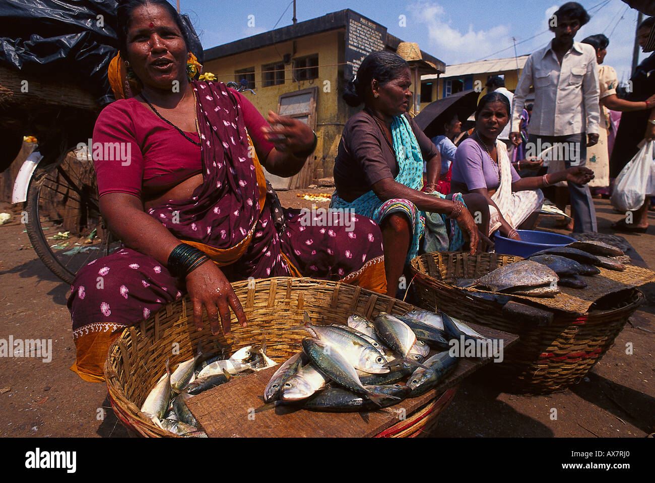 Marktfrau, Mapusa Goa, Indien Stockbild