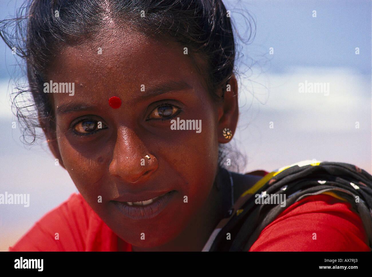 Frauenportraet, Hindu, Goa, Indien Stockbild