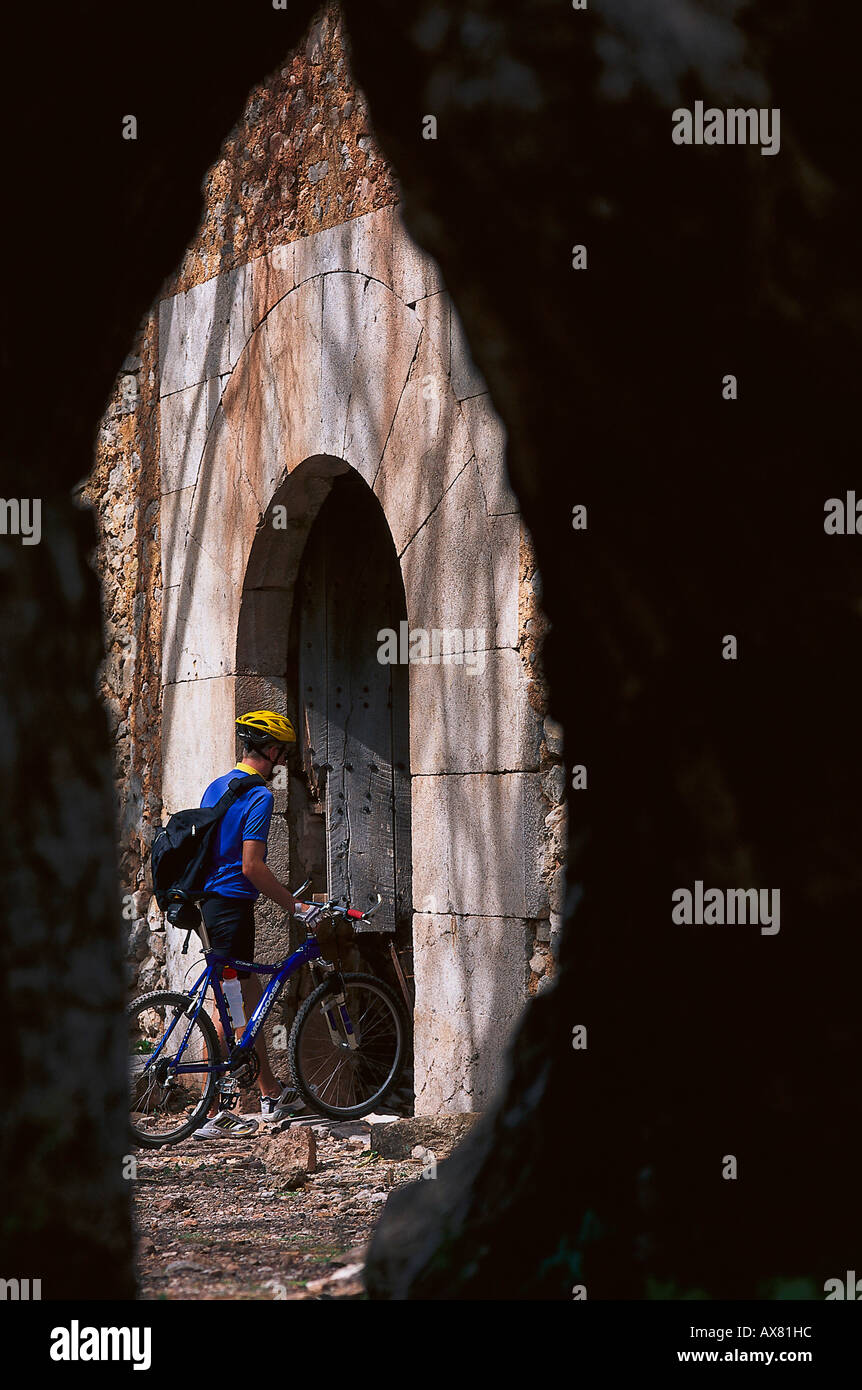 Radtour, Verlassene Finca, Tramuntana, Mallorca, Spanien Stockbild