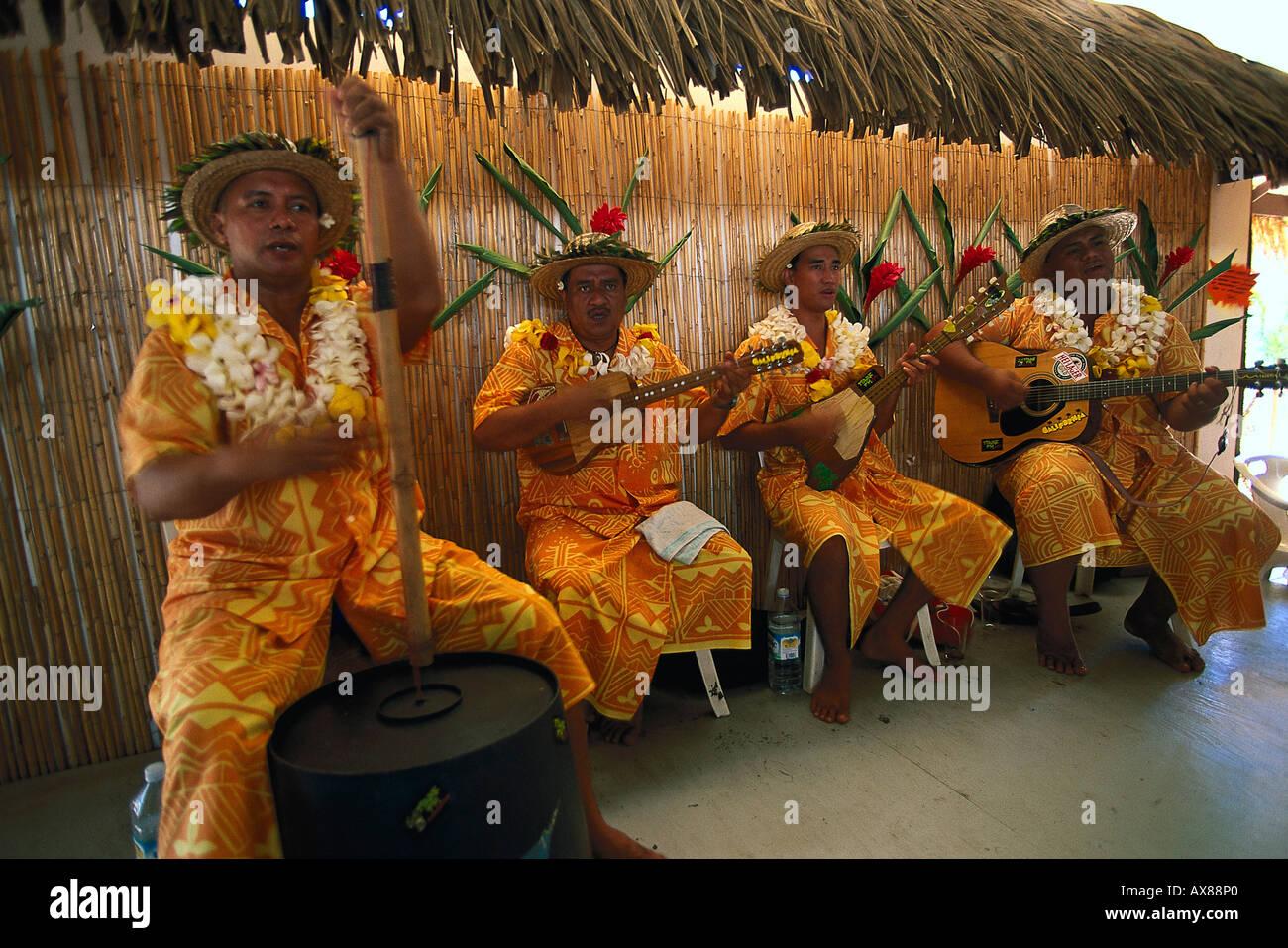 Musiker, Band Tamarii Himene öffentlichen Marché, Papeete, Tahiti Franzoesisch Polynesien Stockbild