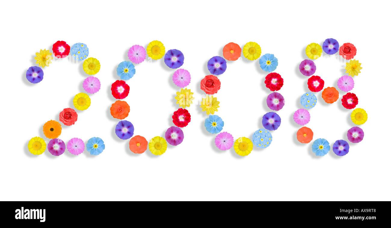 Jahr mit Blütenköpfchen geschrieben Stockbild