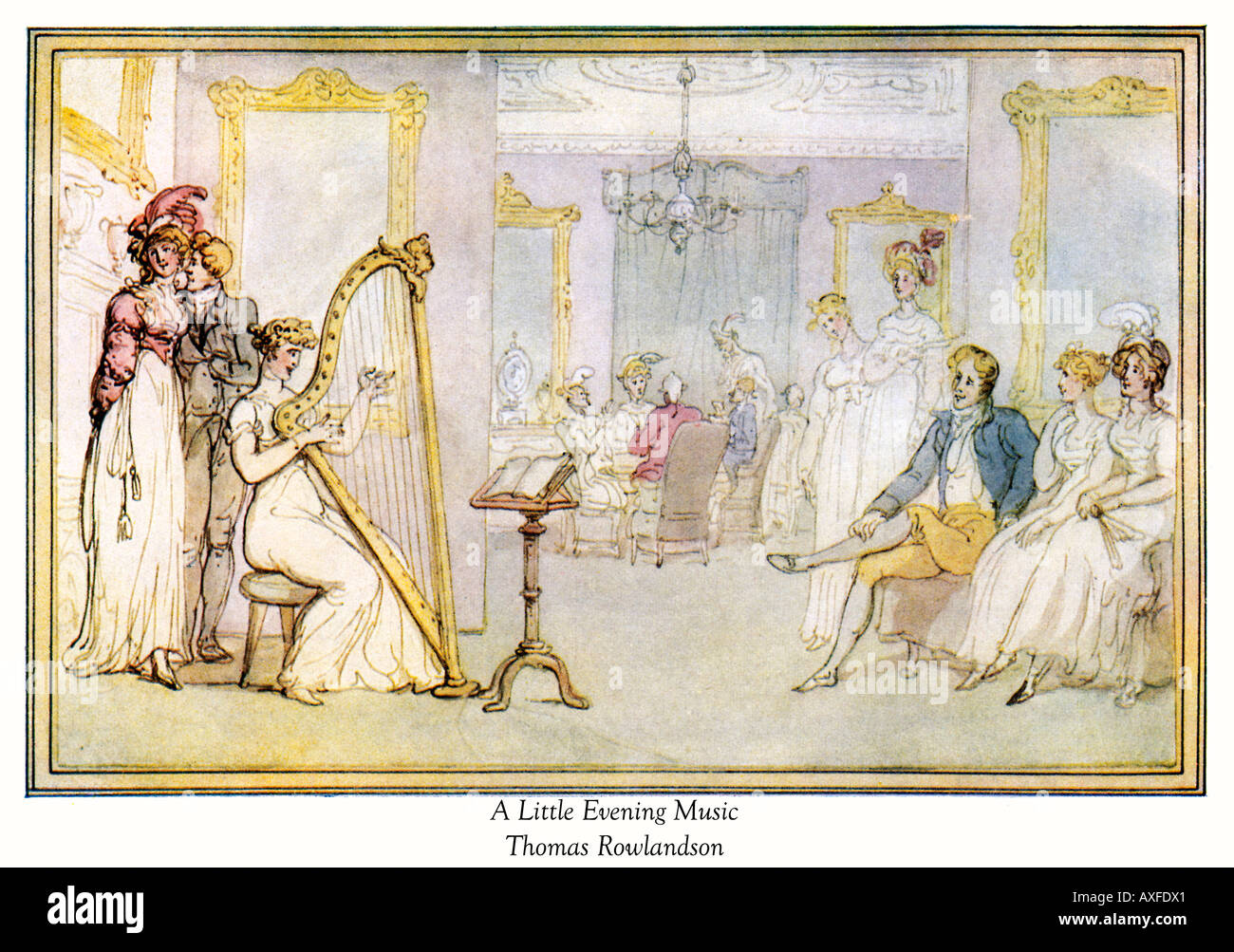 Thomas Rowlandson ein wenig Abend Musik Georgisch-Cartoon von eine modische Soiree nicht alle interessierten in der Musik Stockbild