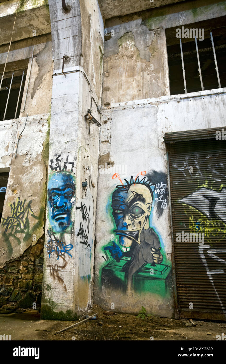 Graffiti in einer Brownfield-Website-Fabrik in Vichy (Frankreich). Graffiti Dans Une Usine Désaffectée de Vichy Stockfoto
