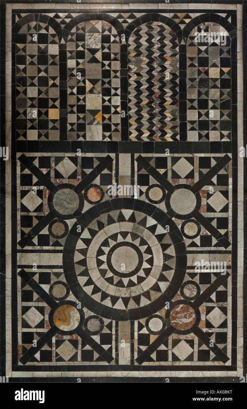 Köln, St. Severin, Romanisches Fußbodenmosaik Stockbild