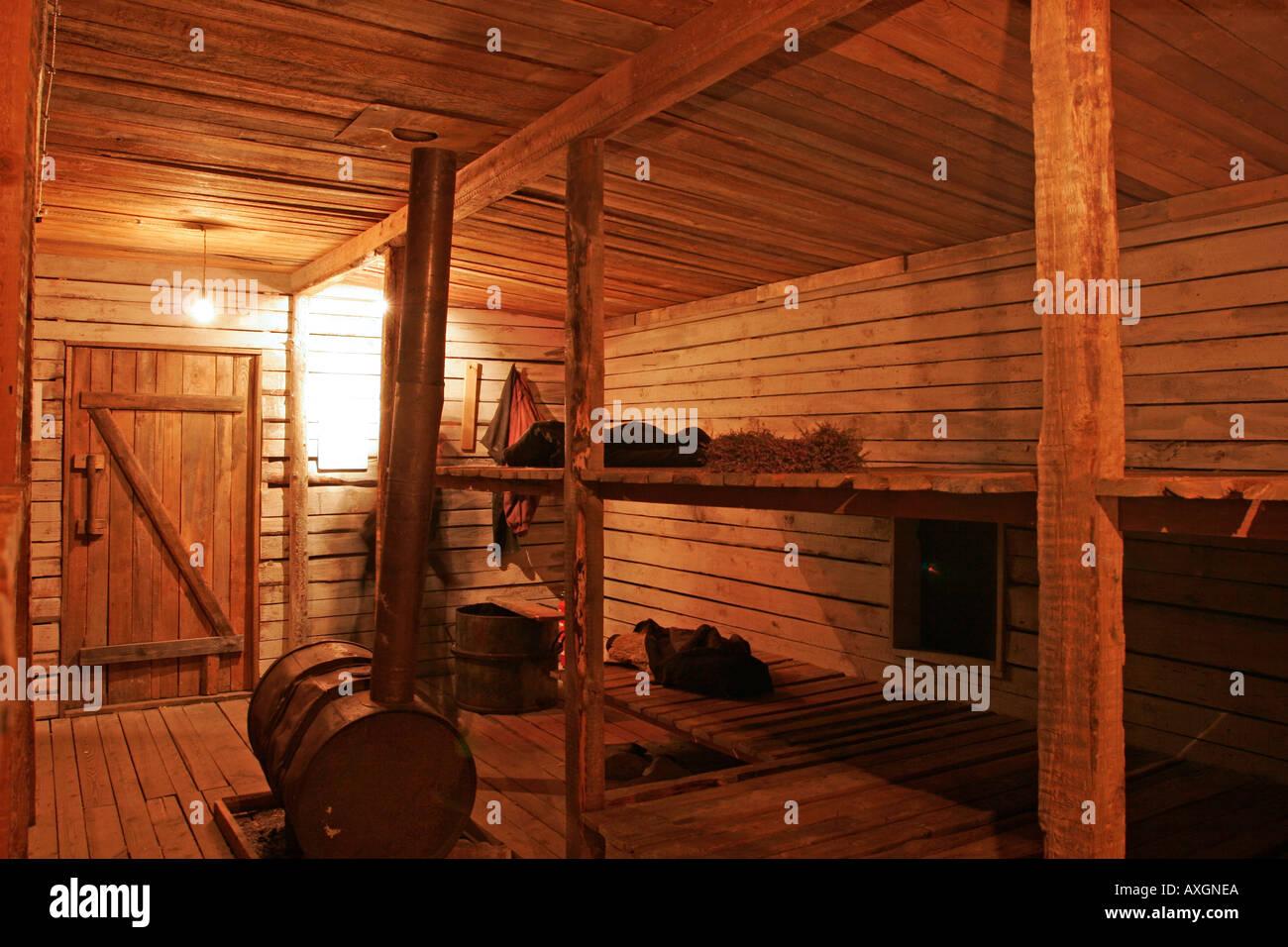erholung von einer gulag h tte im okkupationsmuseum in riga lettland stockfoto bild 5498345. Black Bedroom Furniture Sets. Home Design Ideas
