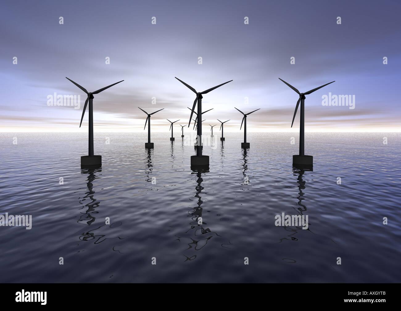 Offshore-Windmühlen Windräder Bzw Windkraftanlagen Stockbild