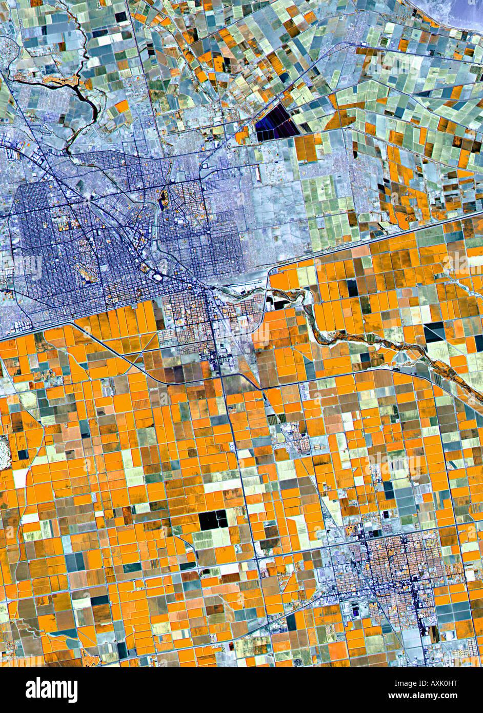 Satellitenbild von Ackerland Deutschland Stockfoto