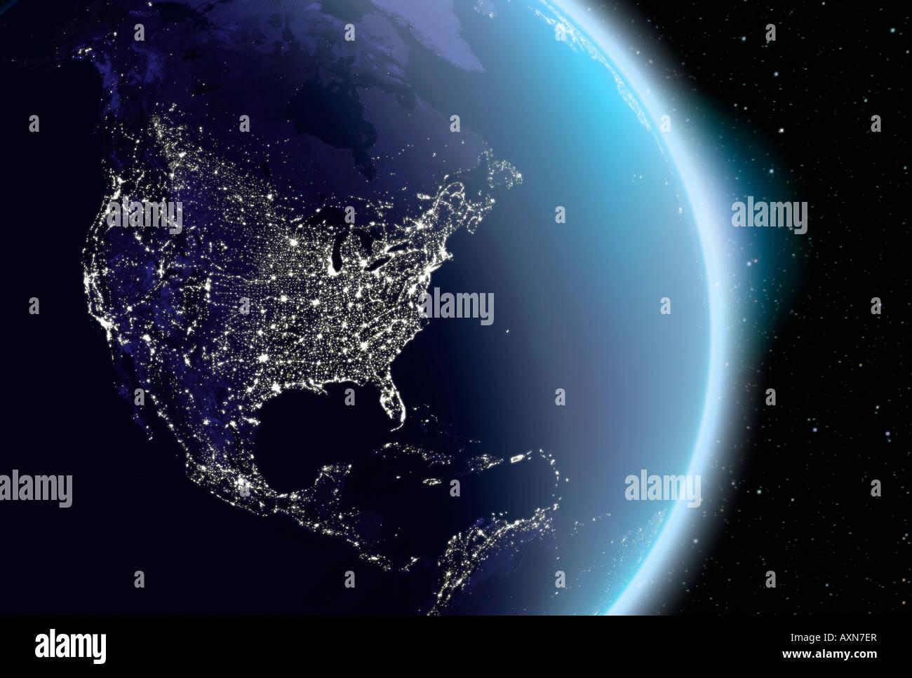 Satellitenbild der Erde Nordamerika bei Nacht Stockbild