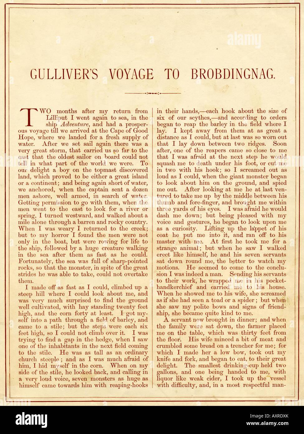 Startseite von Gullivers Reise nach Brobdingnag aus Gullivers Reisen Buch veröffentlicht von Nelson & Söhne Stockbild