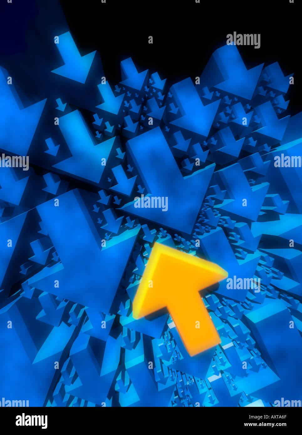 Schwimmen gegen den Strom blaue und gelbe Pfeile auf schwarzem Hintergrund Stockbild