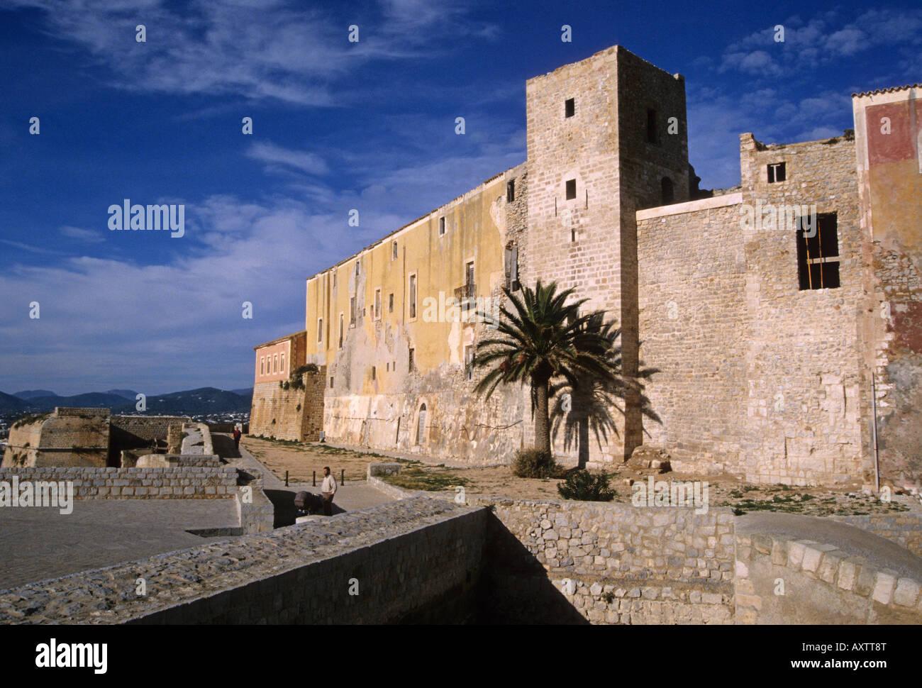 Dalt Vila Festung und die Kathedrale Ibiza-Balearen-Spanien Stockbild