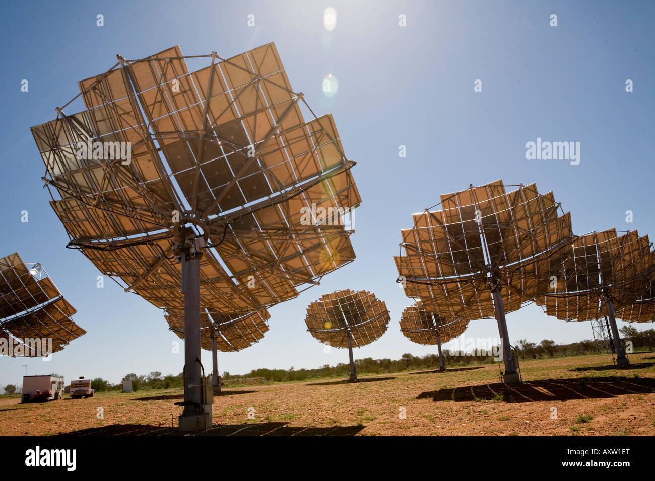 Solar Power-Array in Hermannsburg Northern Territory Australien Stockbild