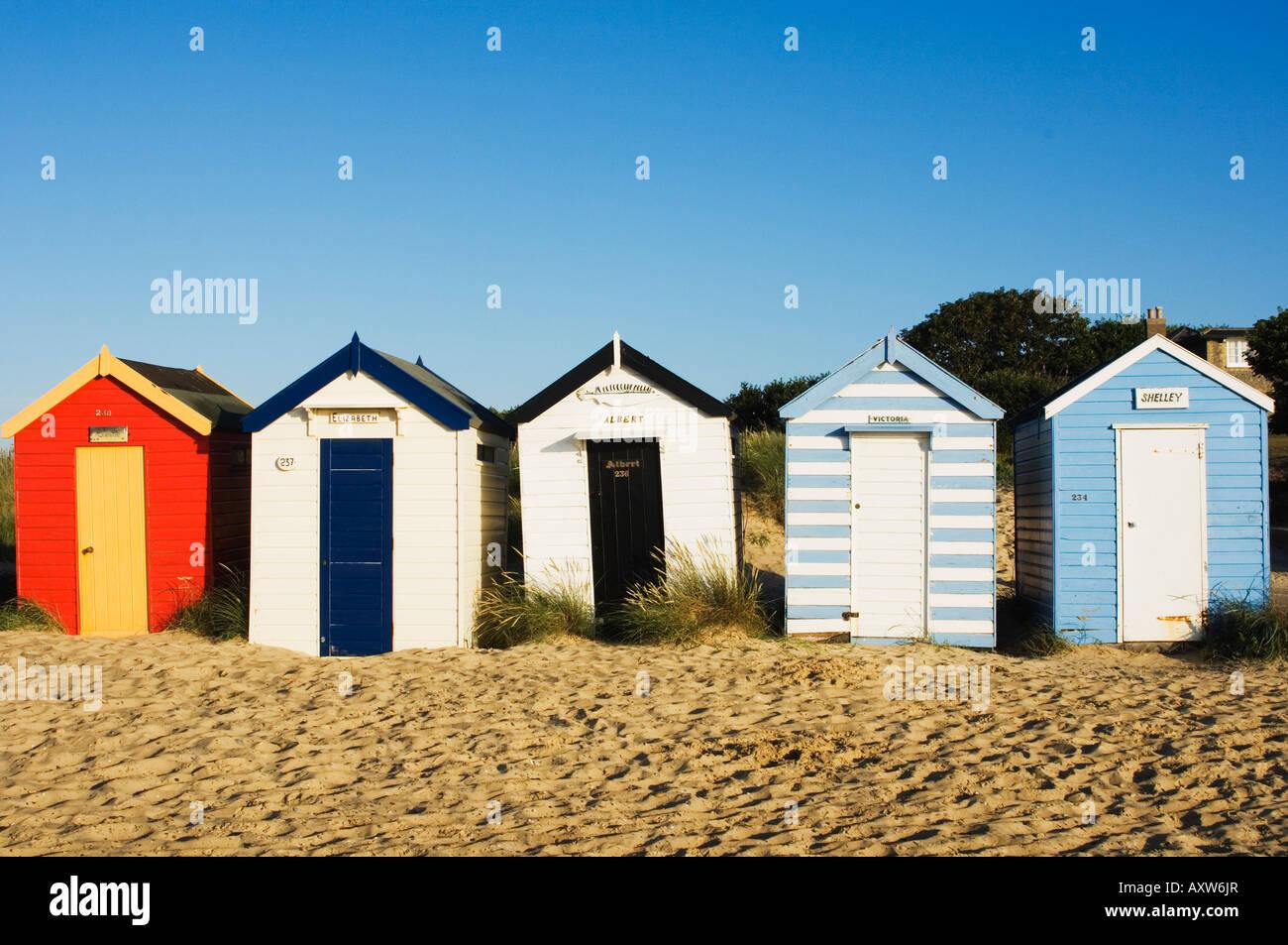 Strandhütten, Southwold, Suffolk, England, Vereinigtes Königreich, Europa Stockbild