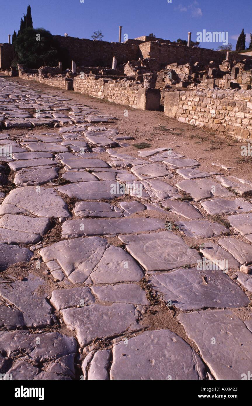 Karthago, römischen Hauptstraße, Fachstellen Stockbild