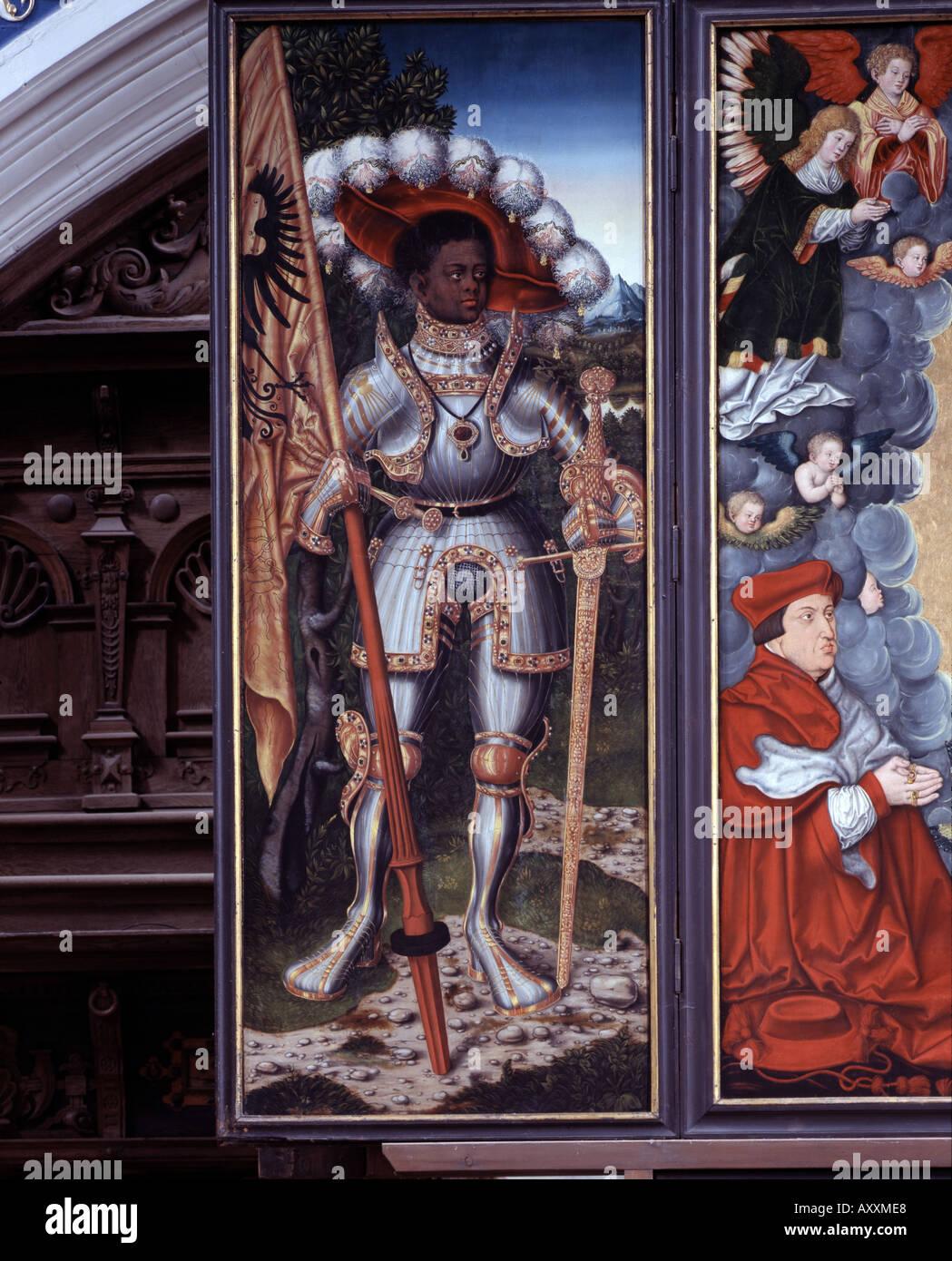 Halle an der Saale, Marktkirche, Altar, Cranachschule, 1529, Heiliger Mauritius Stockbild