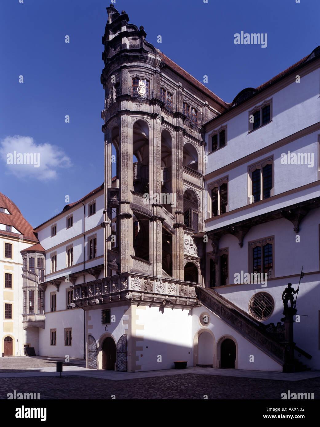 Torgau, Schloß Hartenfels, Großer Wendelstein von West Stockbild