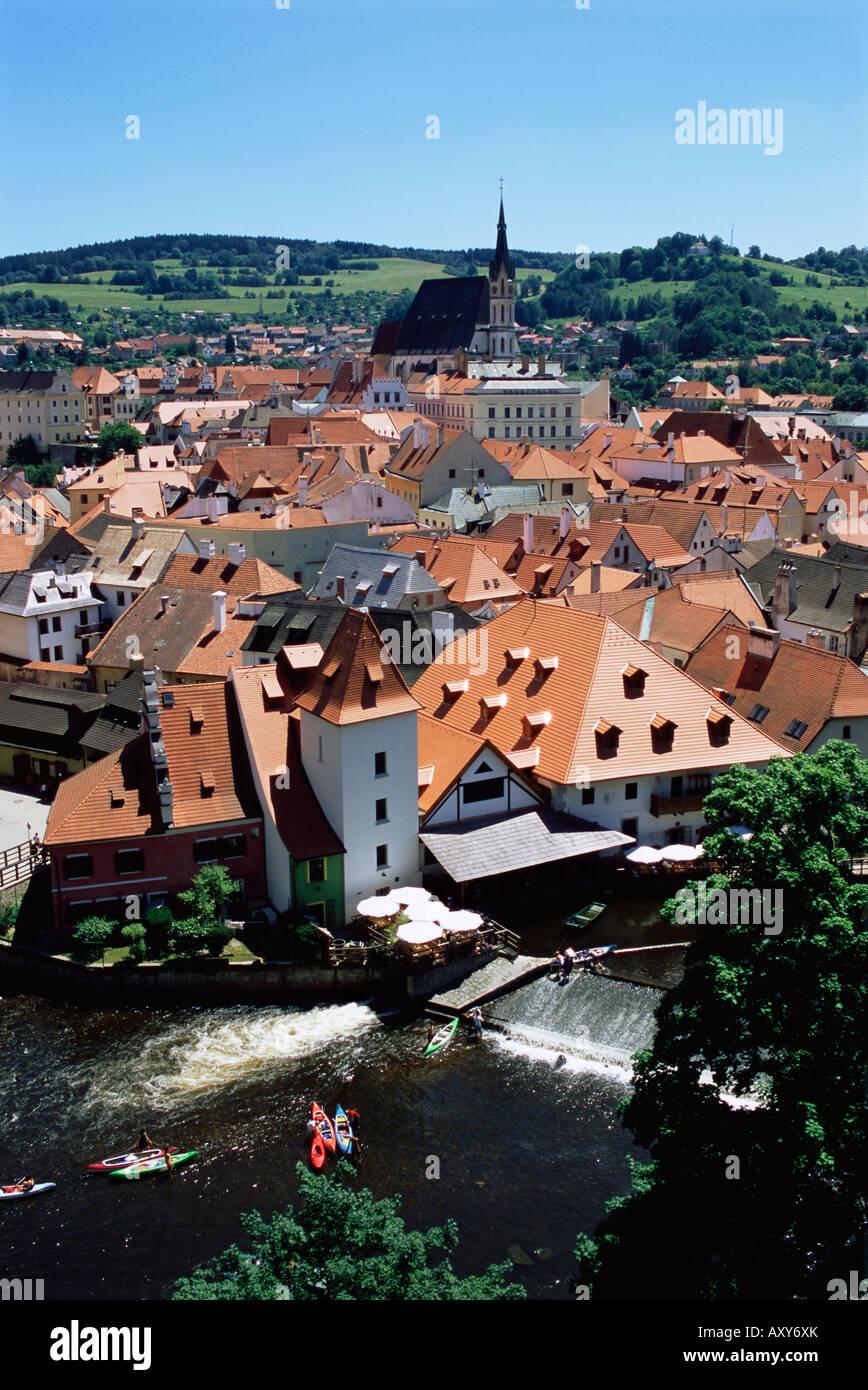 Blick von der Burg Cesky Krumlov, UNESCO-Weltkulturerbe, Tschechische Republik, Europa Stockbild