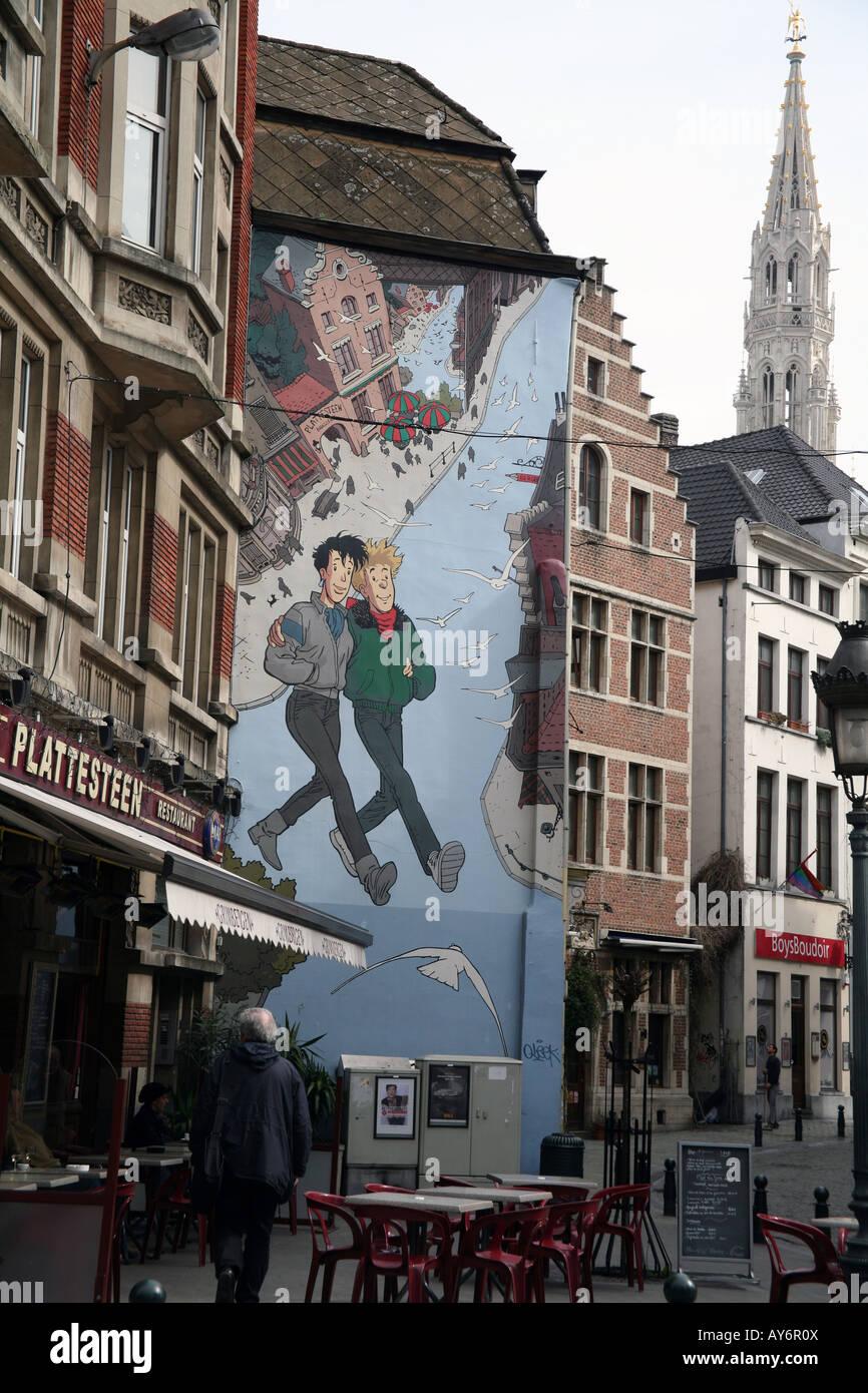 Comic-Strip-Wandbild auf Brüssel Gebäude Stockbild