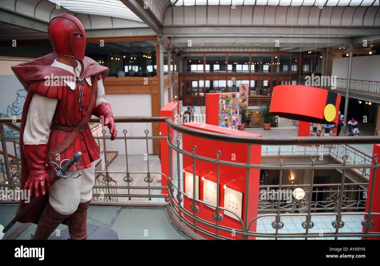 Innere des Comic-Strip-Museum Kunst in Brüssel Stockbild