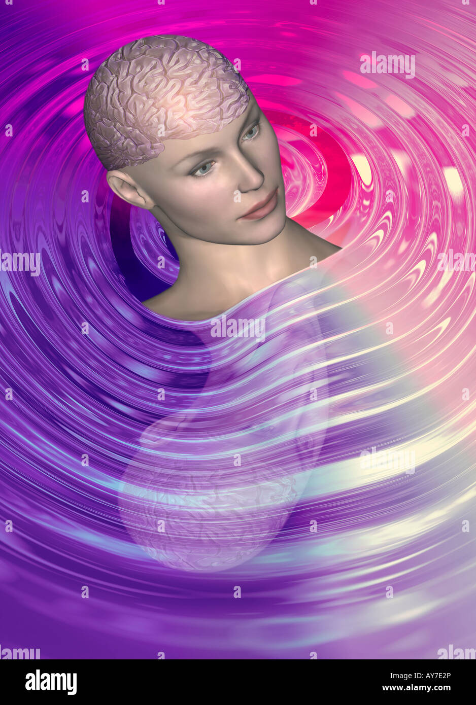 CGI-Klon Avatar Roboter Frauenkopf mit Gehirn zeigen, künstliche Intelligenz Stockfoto