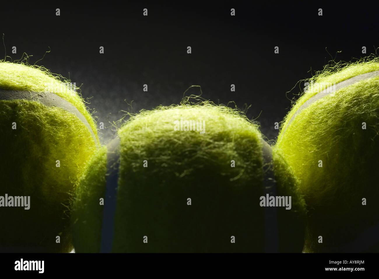 Tennisbälle, extreme Nahaufnahme Stockbild