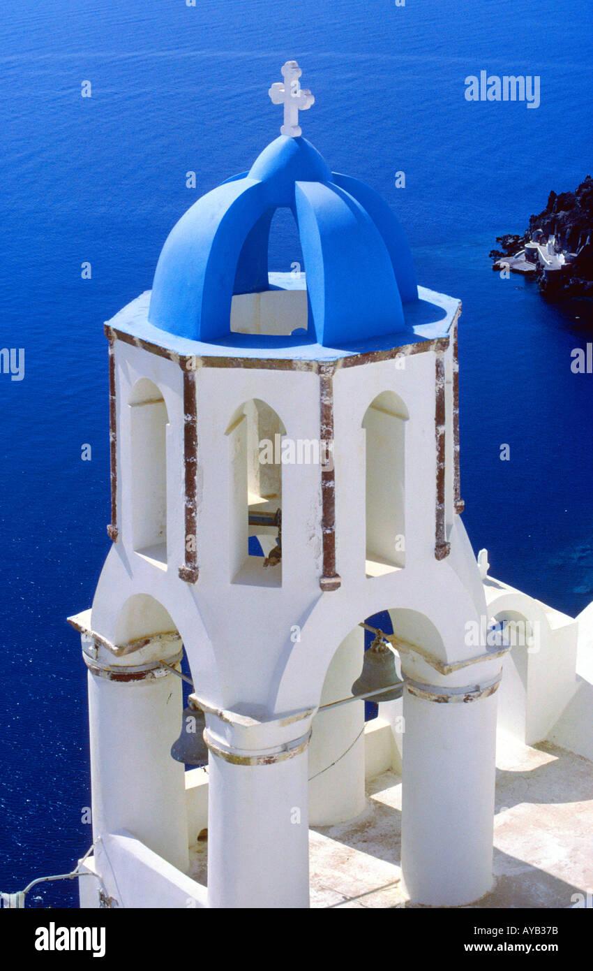 Santorini in der Cyclades großartige Bilder für Reisen Funktionen Stockbild
