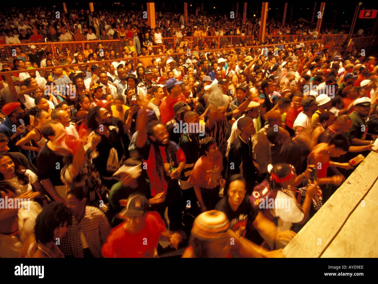 Trinidad Karneval Band Wettbewerb Publikumsreaktion Stockbild
