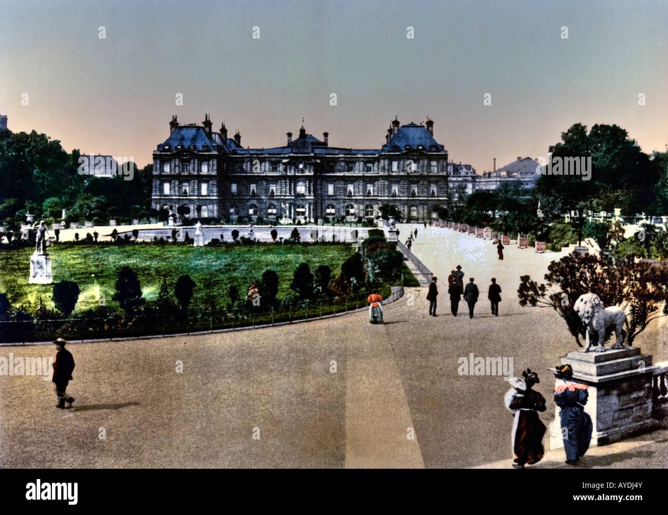 Le Palais du Luxembourg vom Jardin du Luxembourg Paris Frankreich Europa Stockbild