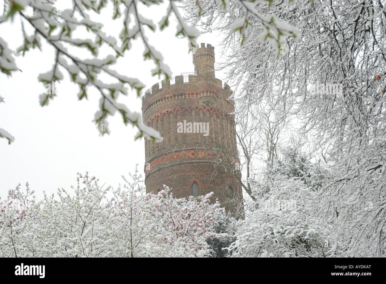 Ein verschneiter Tag im Park Hill, Croydon, Surrey, UK Stockbild