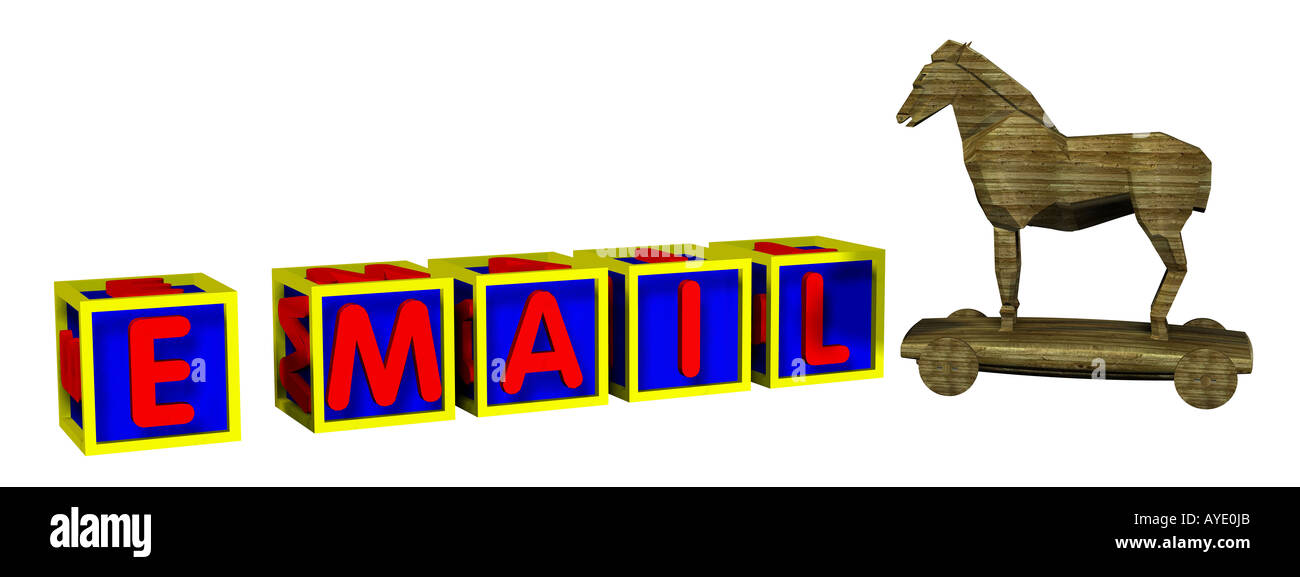 Wort e Mail-Trojaner Stockbild