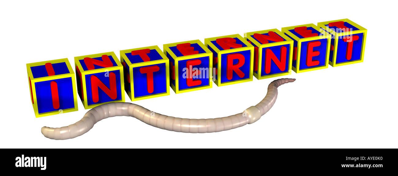 Wort-Internet-Wurm Stockbild