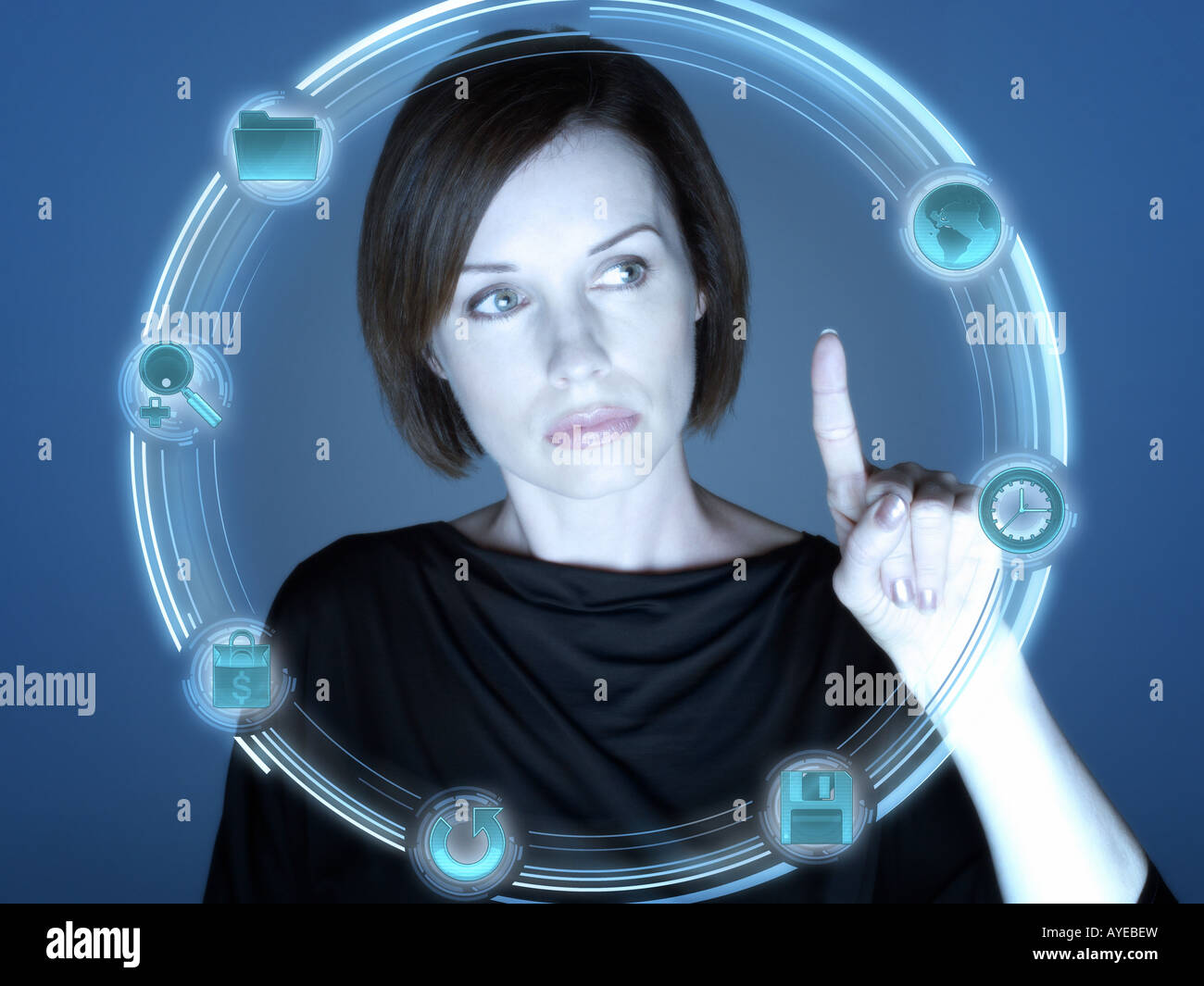 Frau und Computer-Symbole Stockbild