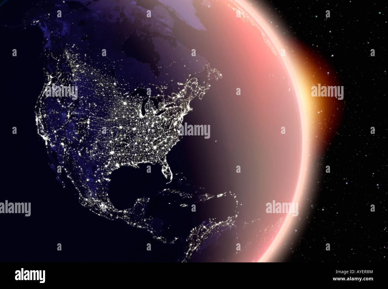 Satellitenbild Der Erde Nordamerika Bei Nacht Stockfoto Bild