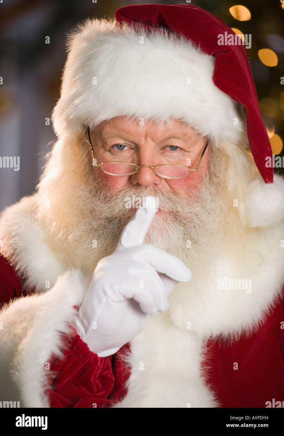 Santa Claus shushing Stockbild