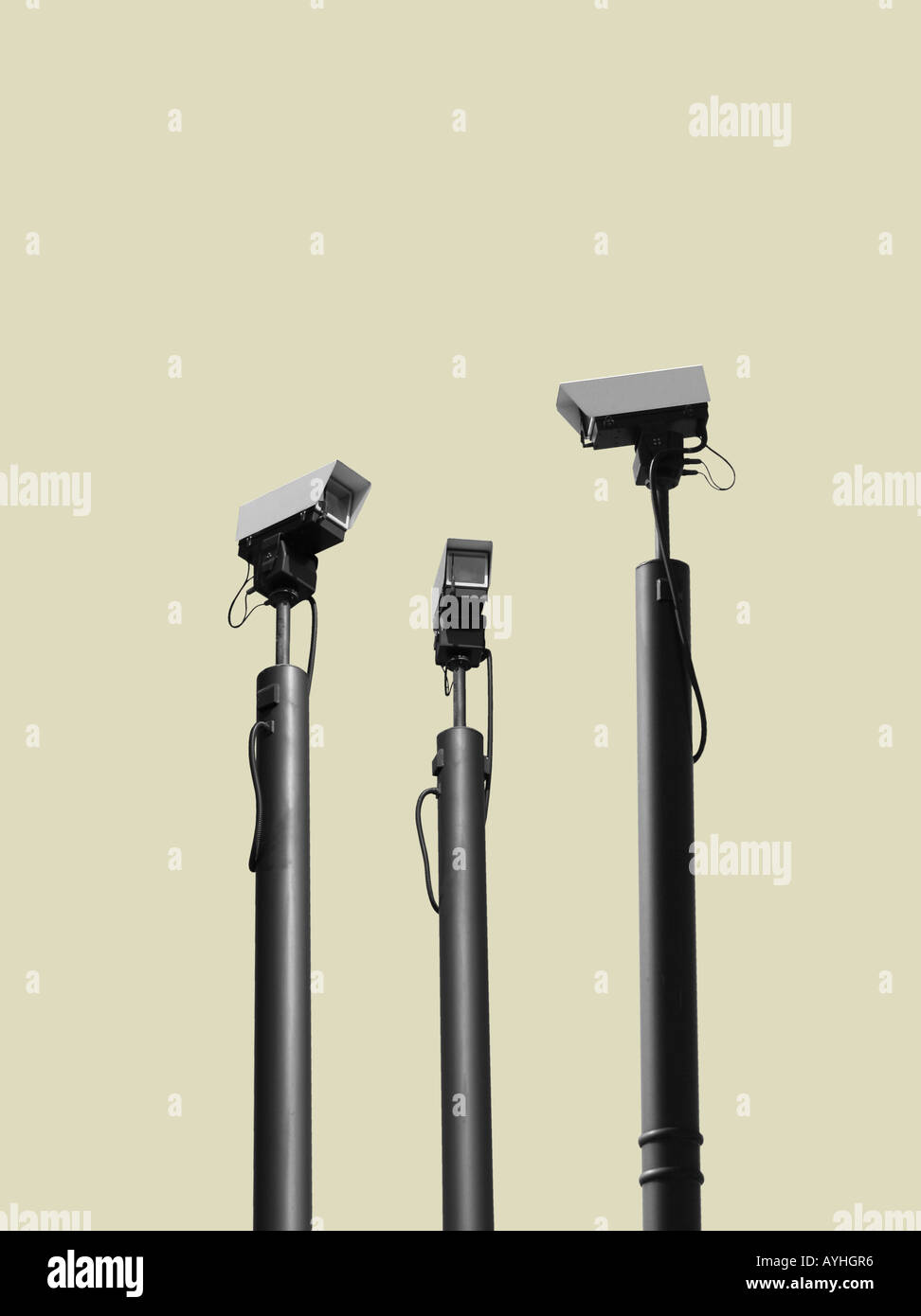 CCTV-Kameras belauern Stockbild