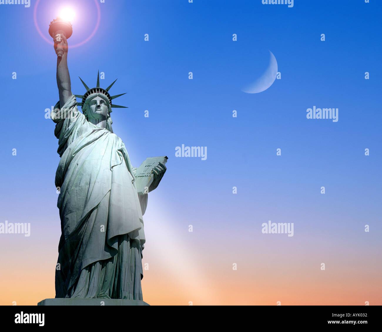 USA - NEW YORK: Freiheitsstatue auf Liberty Island Stockbild
