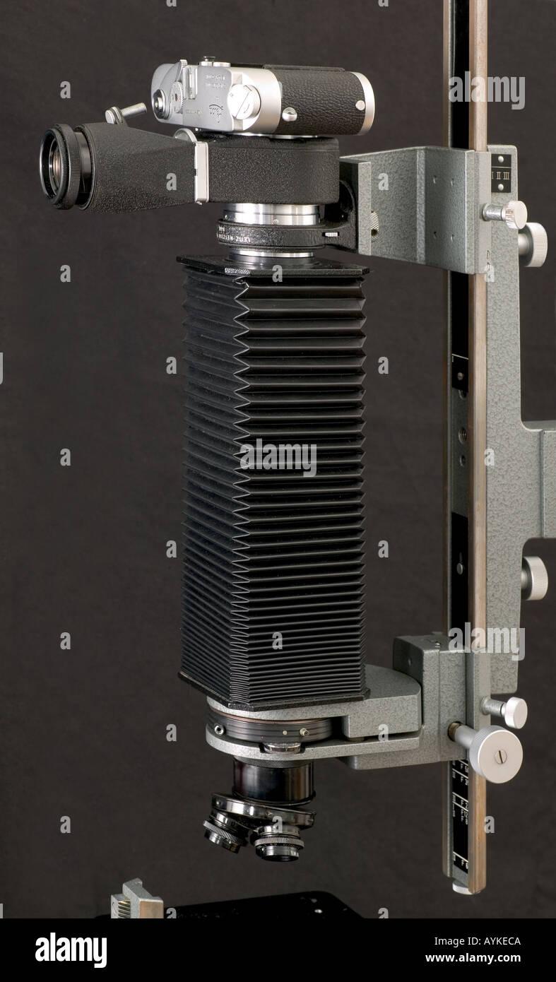 Leitz Aristophot Makro Mikrofotografie Kamera stehen Leica Körper Visioflex Gehäuse Faltenbalg Stockfoto