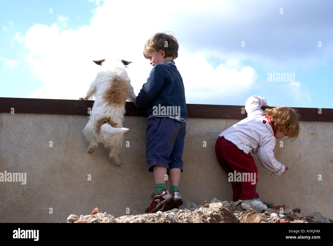 Kinder Flickschusterei mit Hund Jack RussFriendship; Kameradschaft, Nähe, Intimität, Vertrautheit, Liebenswürdigkeit, Stockbild