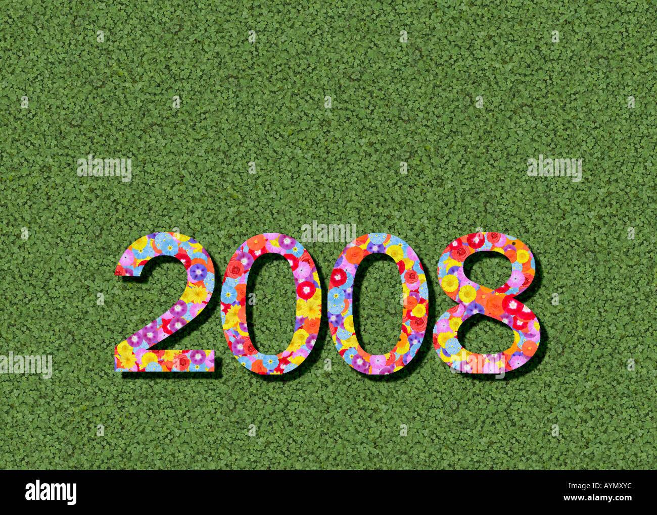 Jahr Zeitsteuerung 2008 ausgeschrieben bearbeitete Stockbild