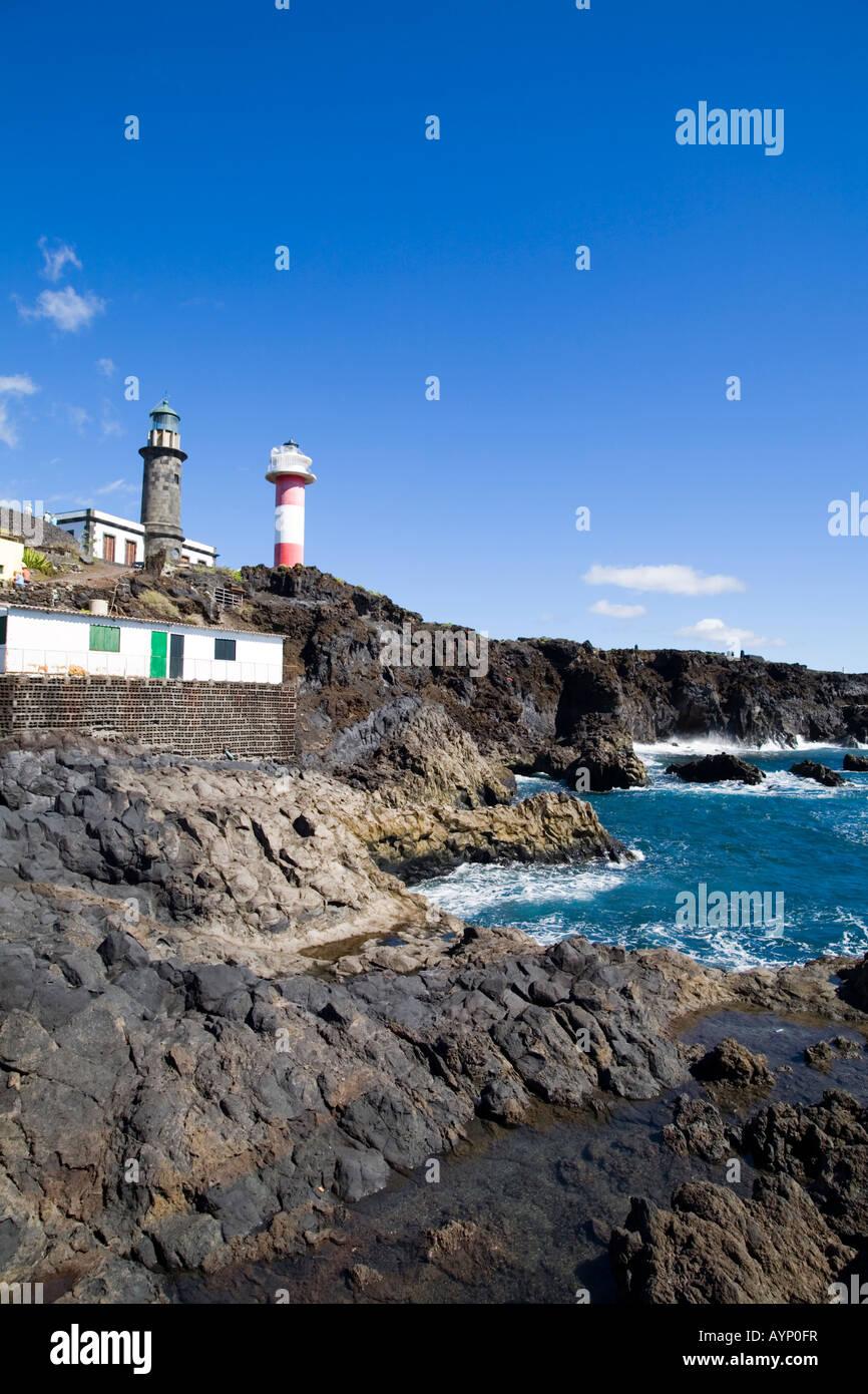 Die Küste und die Leuchttürme bei Punta de Fuencaliente Stockbild