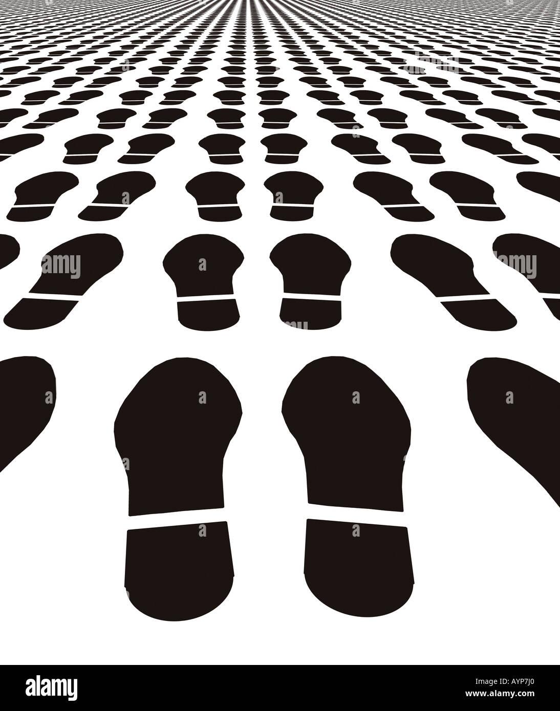 Druckt mehrere Schuh in der Silhouette in konvergierenden Muster gekachelt Stockbild