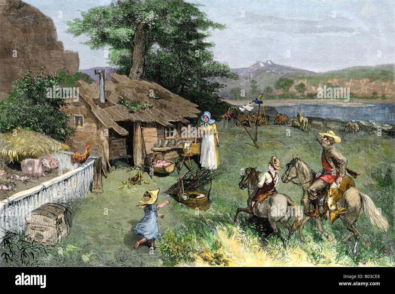 Pioneer Homestead im fernen Westen. Hand - farbige Holzschnitt Stockbild